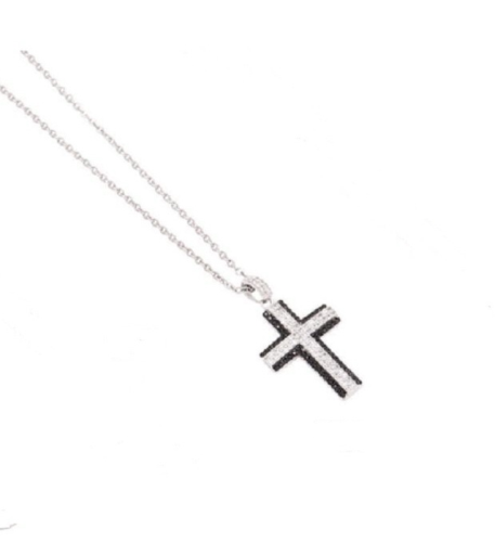 Κρεμαστός Σταυρός κολιέ Ορείχαλκος Πλατίνα 4YOU jewels P6745