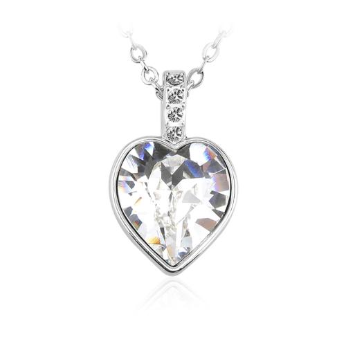 Κολιέ με κρεμαστή Καρδιά Swarovski Επιπλατινωμένο, BC16002-CR
