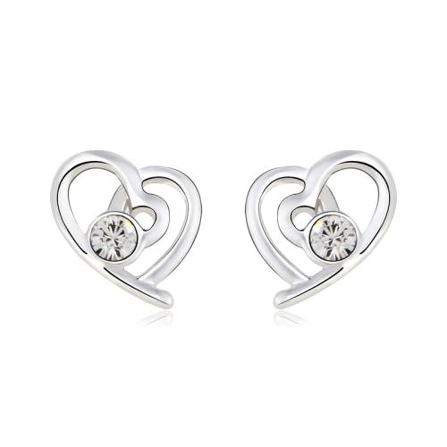 """Σκουλαρίκια καρδιά Επιπλατινωμένα, με """"διαμαντάκι"""" Swarovski BC20598-CR"""