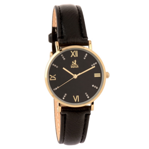 Ρολόι ST WATCH Brooklyn Crystals Brown Leather Strap 9149-1