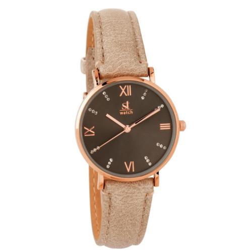 Γυναικείο ρολόι ST WATCH Brooklyn Crystals Brown Leather Str...