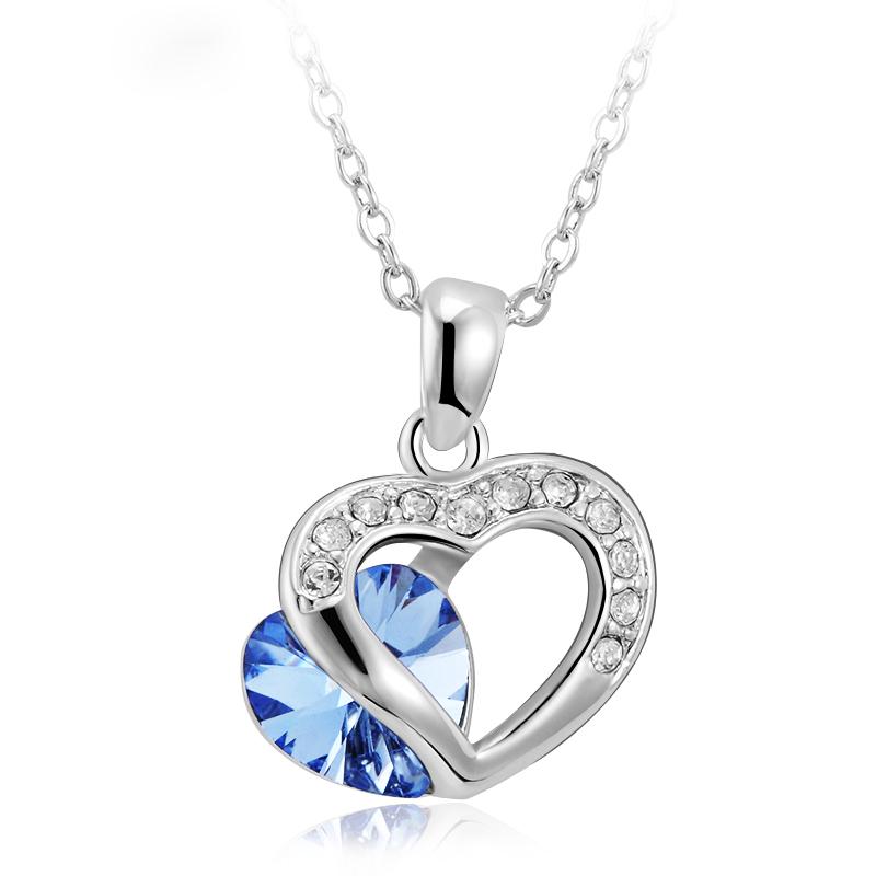 Κολιέ Διπλή Καρδιά με Swarovski - hotstyle.gr b0339537644
