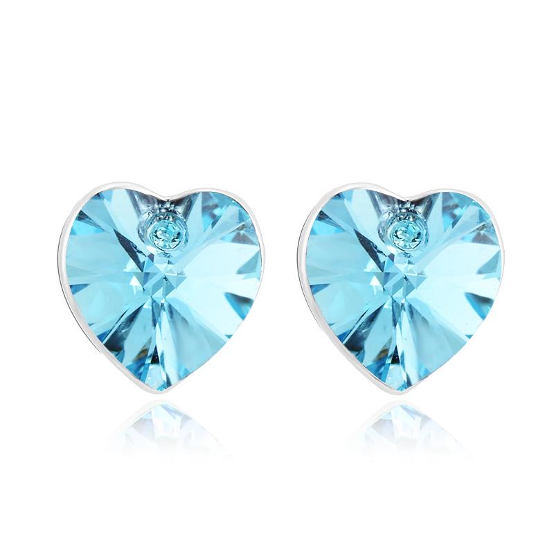 Σκουλαρίκια Ορείχαλκος καρδιά με κρύσταλλα Swarovski BC20600-AQ bb78cde6813