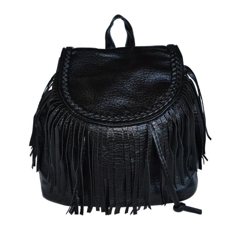 8a90e14ea0 Γυναικεία τσάντα πλάτης δερμάτινη μαύρη με κρόσσια - hotstyle.gr