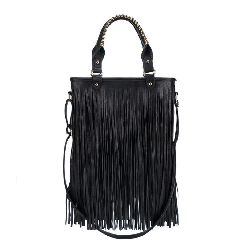 Γυναικεία τσάντα ώμου με κρόσσια μαύρη - hotstyle.gr 4986da30eba